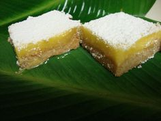 "LILIKOI BARS. one of the most addicting & delicious Hawaiian treats EVER. If you ever get the chance to try these JUMP ON IT cause they are RARE & a ""locals only"" kinda thing. Lilikoi is also known as passion fruit .    Not sure if this is easily found in my area but these sound good."
