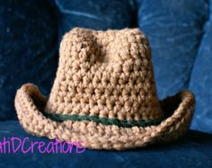 FREE PATTERN, Cowboy Hat, Newborn Pictures, Photo Prop, Crochet, Brimmed Hat, Newborn Photos, Crochet Pattern, PDF