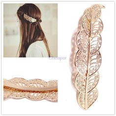 2015 New arrival fashion vintage gold open metal lace leaf Hairpins hair clips for women grampos para cabelo bijoux wholesale