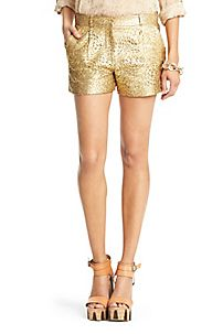 Naples Gold Lasercut Leather Short in Gold/ Nude by DVF
