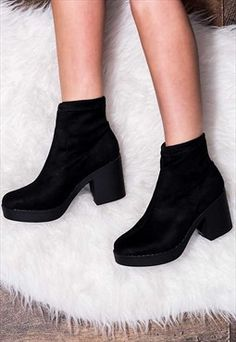 WICKED Platform Block Heel Ankle Boots Shoes - Black