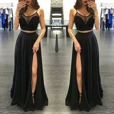 Illusion Spaghetti Straps Side-Slit Two Pieces Prom Dresses