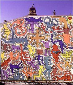 Grafite na Igreja de San Antonio na cidade de Pisa, Itália, último projeto monumental de Keith Haring (1958-1990), concluído em janeiro de 1990. Veja mais em: http://semioticas1.blogspot.com.br/2011/07/arte-do-grafite_15.html