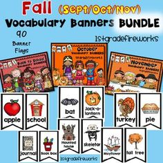 Vocabulary Banners for the months of October, November, & December.Banners can be hung on a string, a ribbon, a pocket chart, or attached to a bulletin board or wall.Banners make a HUGE RESOURCE for writing centers.ESL students will have a visual for lang