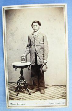 Civil War Era CDV Photo Handsome Young Man with Nice Photo Album Terre Haute Ind