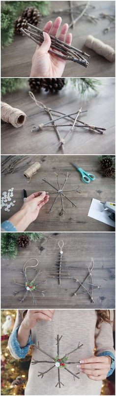 Bring a touch of nature indoors this year as you decorate your tree – learn how to make rustic twig Christmas ornaments! They're simple, ine...