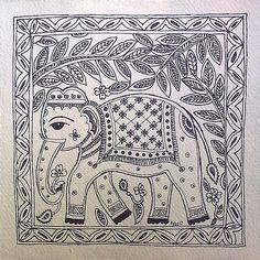 Madhubani Elephant Black White - design for my handmade greetingcards..