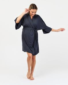 The Felicity Robe is crafted from the best quality organic bamboo for ultimate layering comfort. Specially designed to allow extra room for your beautiful bump, this is also an ideal addition to your hospital bag. A perfect baby shower gift, the gentle drape and soft silhouette sleeves will make any mother-to-be feel absolutely wonderful every time she wears it.  Organic bamboo Minimalist sleepwear design with removable waist tie Midi cut with mid-length sleeves Thermoregulating sleepwear Maternity Pajamas, Extra Rooms, Technology Design, Pyjamas, Baby Shower Gifts, How To Make, How To Wear, Hospital Bag, Mid Length