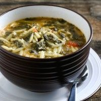 Spinach Tomato Orzo Soup--I would add celery and chopped carrots