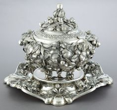 A GUIDO FIORENTINI ITALIAN SILVER COVERED TUREEN WITH UNDERPLATE, LINER AND LADLE   Guido Fiorentini, Milan, Italy, circa 1970