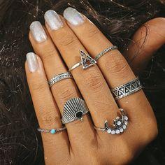 e62de516ed 7pcs/Set Fashion Retro Carved Blue Turquoise Handmade Moon Style Rings  Jewelry