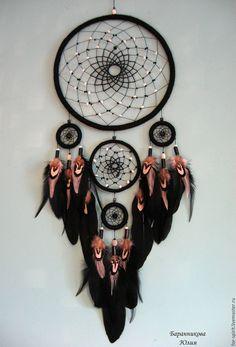 """Купить Ловец снов """"Черное и белое"""" - черно-белый, черный, ловец снов, dreamcatcher"""