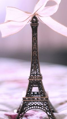 Eiffel Tower White Ribbon Wallpaper #iphone #android #girly