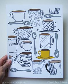 CHOOSE your COLOR MUG 8 x 10 Art Print Coffee Tea I by penandpaint, $17.50