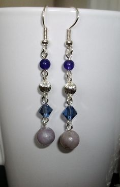 Purple and Silver  Dangle Earrings by mwadsworth on Etsy, $1.25