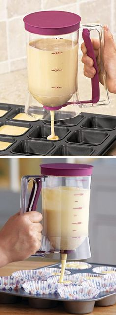 Cake batter dispenser // measures out perfect portions for pancakes, cupcakes etc! #product_design #kitchen
