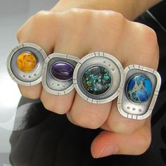 Bit late but finally got these rings finished! They have my logo stamped on the band. Amber - size J Amethyst - size K Turquoise - size L Varascite - size O