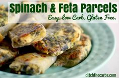 Try these super simple low carb spinach and feta parcels. Great for lunch, dinner and sturdy enough for picnics and lunch boxes. Gluten free and healthy.