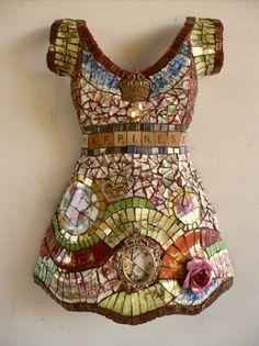 """""""Happiness"""" mosaic dress by Susan Wechsler Mosaics."""