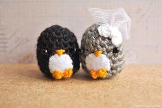 Amigurumi Penguin, wedding gift, bride and groom, cute keychain, Mr  Mrs, kawaii charm, bridal shower gift, cake topper, MADE TO ORDER