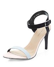 Black Contrast Textured Ankle Strap Heels  | New Look