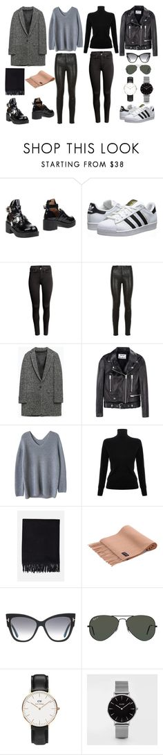 """""""Black"""" by vongolddracht ❤ liked on Polyvore featuring Jeffrey Campbell, adidas Originals, H&M, J Brand, Zara, Acne Studios, Victoria, Victoria Beckham, Tom Ford, Ray-Ban and Daniel Wellington"""