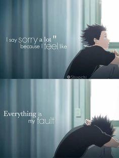 A Silent Voice ~ Shirochi - Tritt Anime Fandom bei und teile . - Anime Worlds Sad Anime Quotes, Manga Quotes, True Quotes, Best Quotes, Voice Quotes, It Hurts Quotes, Feeling Sad Quotes, Sadness Quotes, Quotes Gif