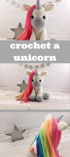 Pattern to crochet this super cute amigurumi unicorn doll! #amigurumi #affiliate #crochepattern #unicorn