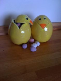Ceramic Easter Chick Pots.  Two pinch pots joined, shaped with a paddle, lid cut, glazed and fired.