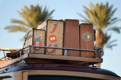 Photo about Classic wooden car with vintage luggage on roof rack. Image of motorcar, rear, vehicle - 7126625 Airline Fares, Road Trip Packing, Perfect Road Trip, Car Racks, Wooden Car, Vintage Luggage, Vintage Travel, Roadtrip, Roof Rack