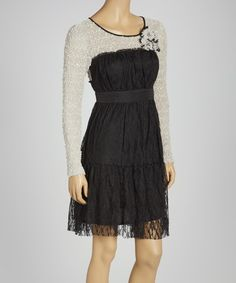 Take a look at this Black Lace Long-Sleeve Dress on zulily today!
