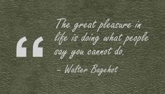 The great pleasure in life is doing what people say you cannot do. - Walter Bagehot