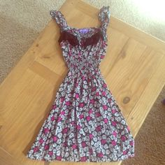 Adorable Floral and Lace Mini Dress This dress is SO cute on. Reminds me of a new spin on pinup style! Pink and cream floral on black, black lace chest detail, ruffle straps, and ruched waist. 30.5 inches from shoulder to bottom. purple Dresses Mini