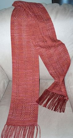 copper huck lace tencel scarf