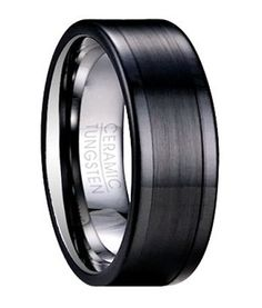 Exuding a quiet masculine power, this men's tungsten ceramic ring is undeniably impressive. Subtle mixed finishes define this 8mm comfort fit black band. A contemporary flat profile further accentuates the slight contrast between the brushed finish center and polished edges of this ceramic overlay tungsten ring. $49.95