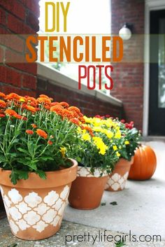 DIY Stenciled Pots