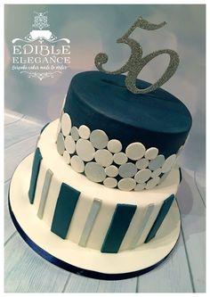 50th birthday cake, contemporary design in masculine blue, white and silver.