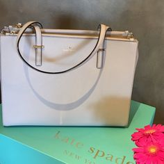 sale Host Pick x2 NWT Kate Spade bag 🌷Host Pick x2🌷Brand new Kate Spade tote in crisp linen. Gorgeous crosshatched leather j matching trim. Stone gray match with just about everything. 2 zipped compartment, one main compartment with Carolina spade dot lining and a lot of space to fit even files in it. Main compartment has a tub closure. Double slide pockets and zipper pocket. I truly love this one. Dust bag and beautiful gift original Kate Spade bag all is completely authentic! kate spade…