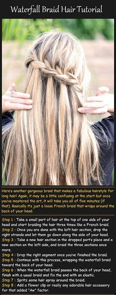 Peinados Pinterest: Waterfall Braid Hair Tutorialÿ