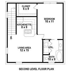 Second Floor Plan of Garage Plan 47102