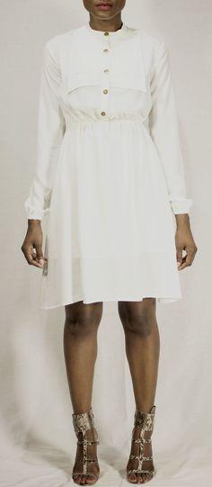 Designed by Charlotte Prive: Long Sleeve White Button Dress Find us on: Facebook: www.facebook.com/charlotteprive Instagram: @Ćharlotte Privé Twitter: @Ćharlotte Privé #fashion #white #dress #CharlottePrive #Ghana #Africa