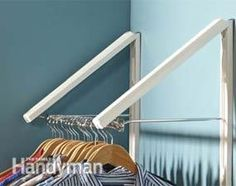 Double folding hanger rod - More #products for easy #organization: http://www.familyhandyman.com/storage-organization/easy-organization/view-all