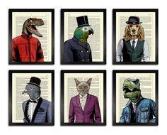 AWESOME GIFT SET OF SIX ANIMALS IN CLOTHES PRINTS!   THIS SET INCLUDES:  - Duncan the Velociraptor - Lord Beaky the Parrot - Johnny the Cocker Spaniel - Mr Pigeon the Pigeon - Ron the Cat - Jacob the T-Rex   ALL PRINTS FIT PERFECTLY INTO A STANDARD 8 X 10 INCH FRAME  FRAMES NOT INCLUDED  THE DICTIONARY TEXT BEHIND THE IMAGES IS DIFFERENT ON EVERY PRINT MAKING THEM ALL UNIQUE  ...................................................................................... Details of prints:  - printed…