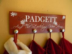 Custom Stocking Hanger Vinyl Wood Sign by BryantSignDesigns, $40.00
