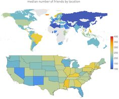 median number of friends on Facebook by location
