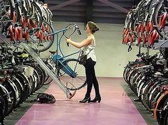 Bike racks at the Central Train Station, Utrecht, NL. Bike Storage Office, Bike Storage Room, Furniture Plans, Urban Furniture, Metal Furniture, Cheap Furniture, Bike Shelter, Bicycle Pictures, Cycle Storage