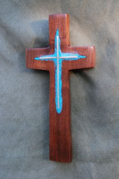 Walnut Wall Cross with Turquoise & Copper Inlay by BlackFacedSheep, $74.99