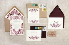 Lauren + Arman's Floral Block Printed Wedding Invitations | Design and Photo Credits: Katharine Watson