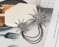 Luxusná dvojitá brošna v tvare hviezd s kryštálikmi .