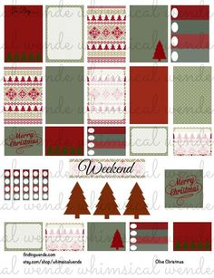 Erin Condren Printable Planner Stickers Kit Christmas Sweater Instant Digital Download- Olive Green Red Maroon by WhimsicalWende on Etsy